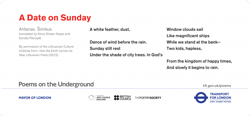 A Date on Sunday, Antanas Šimkus A white feather, dust, Dance of wind before the rain.