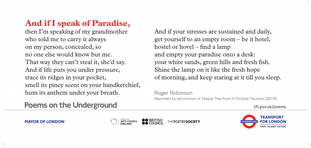 And if I speak of Paradise, Roger Robinson 'And if I speak of Paradise then I'm speaking of my grandmother who told me to carry it always on my person, concealed, so no one else would know but me.'