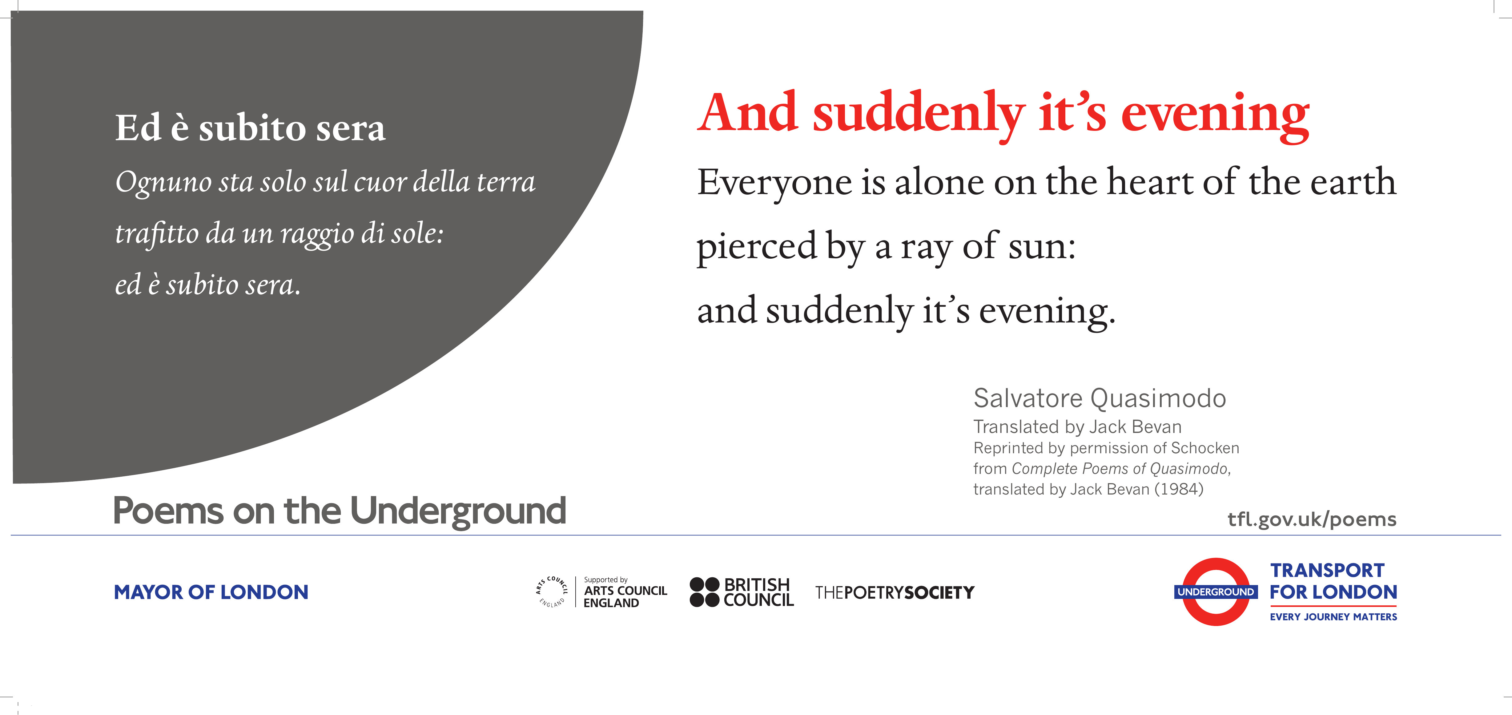 And suddenly it's evening - Poems on the Underground