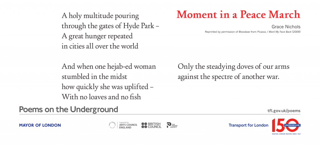 Moment in a Peace March, Grace Nichols 'A holy multitude pouring Moment in a Peace March through the gates of Hyde Park – A great hunger repeated in cities all over the world'