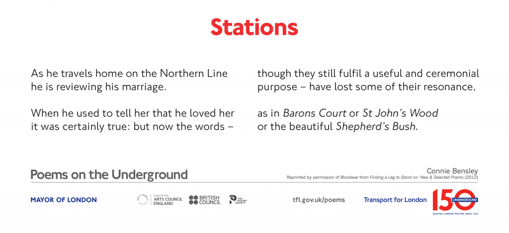 Stations, Connie Bensley 'As he travels home on the Northern Line he is reviewing his marriage.'