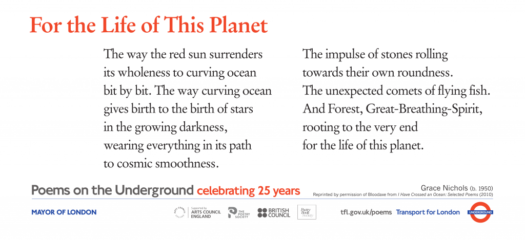 For the Life of This Planet, Grace Nichols ' The way the red sun surrenders its wholeness to curving ocean bit by bit. The way curving ocean gives birth to the birth of stars in the growing darkness, wearing everything in its path to cosmic smoothness'