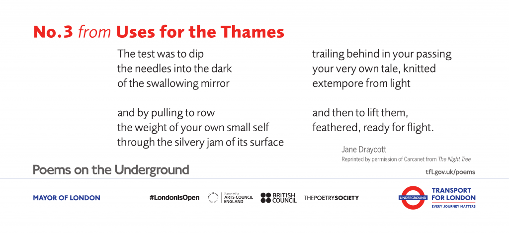 No.3 from Uses for the Thames, Jane Draycott 'The test was to dip the needles into the dark of the swallowing mirror'