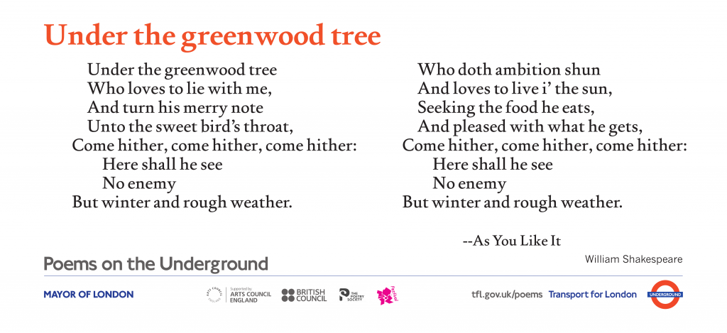 Under the greenwood tree, William Shakespeare 'Under the greenwood tree Who loves to lie with me, And turn his merry note Unto the sweet bird's throat, '