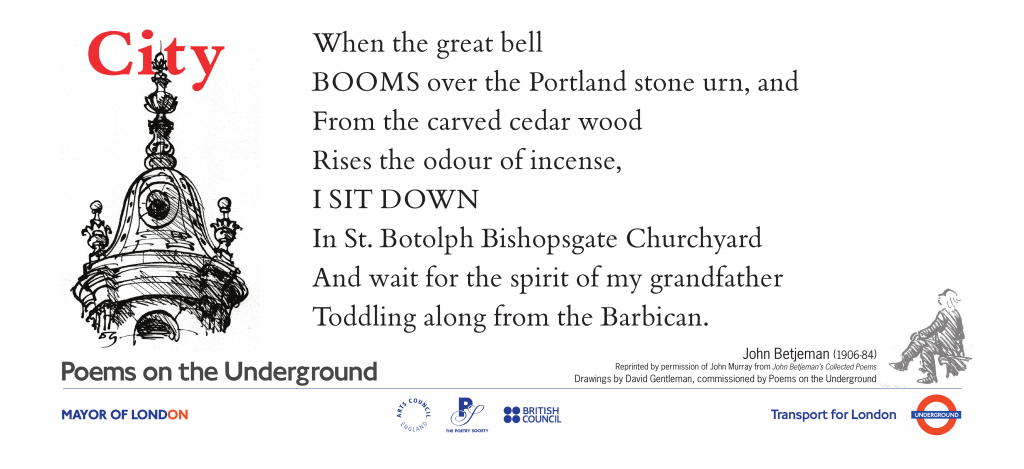 City, John Betjeman 'When the great bell BOOMS over the Portland stone urn, and From the carved cedar wood Rises the odour of incense,'