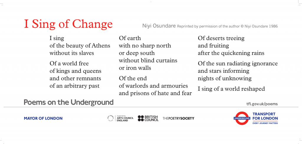 I Sing of Change Niyi Osundare I sing of the beauty of Athens without its slaves Of a world free of kings and queens and other remnants of an arbitrary past