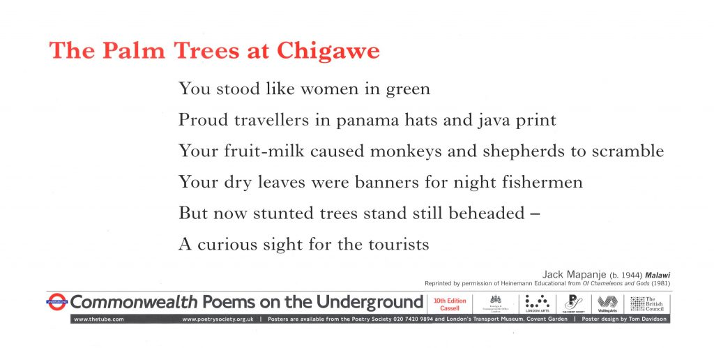 The Palm Trees at Chigawe. Jack Mapanje 'You stood like women in green Proud travellers in panama hats and java print'