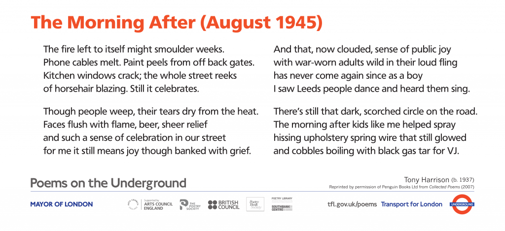The Morning After (August 1945), Tony Harrison ' The fire left to itself might smoulder weeks. Phone cables melt. Paint peels from off back gates. Kitchen windows crack; the whole street reeks of horsehair blazing. Still it celebrates.'