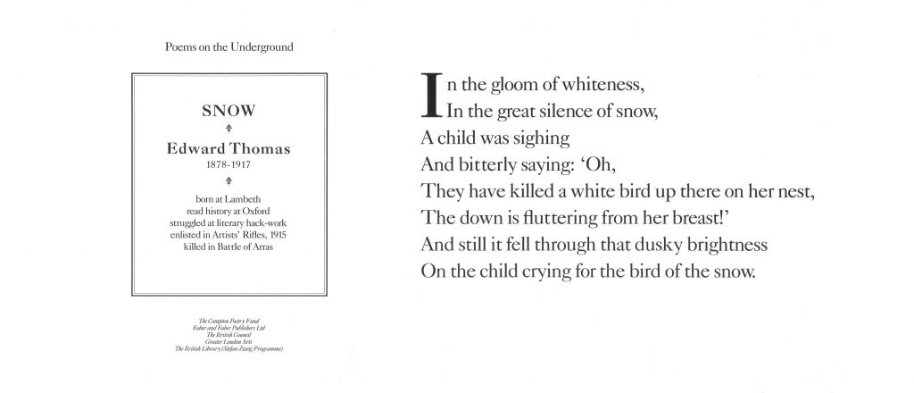Snow, Edward Thomas ' In the gloom of whiteness, In the great silence of snow, A child was sighing and bitterly saying: Oh, They have killed a white bird up there on her nest,'