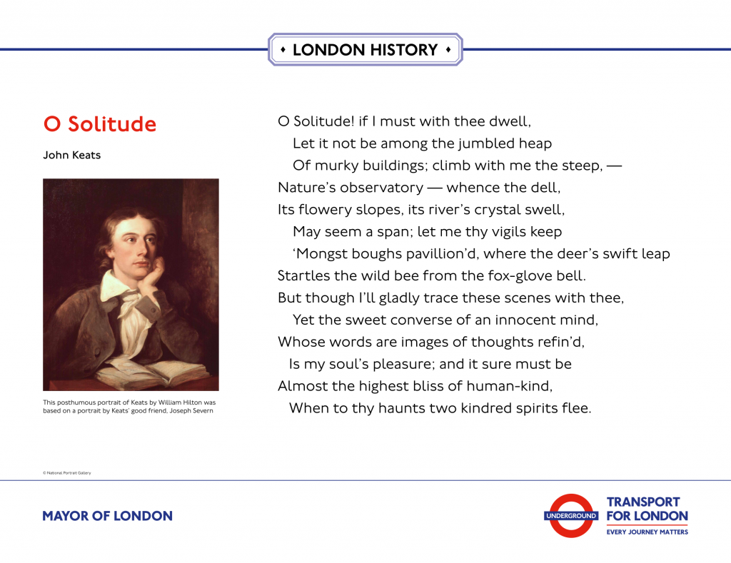 Celebrating Keats London Bridge Display ' O Solitude ! If I must with thee dwell, let it not be among the jumbled heap of murky buildings; '