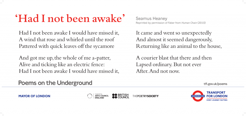 Had I not been awake, Seamus Heaney ' Had I not been awake I would have missed it, A wind that rose and whirled off the roof Pattered with quick leaves off the sycamore'