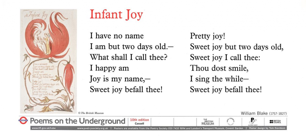 Infant Joy, William Blake ' I have no name I am but two days old.- What shall I call thee?