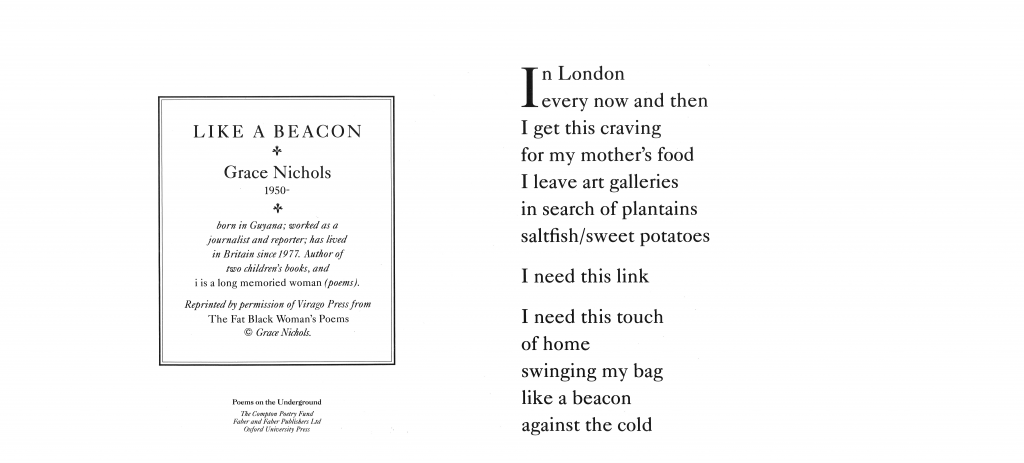Like A Beacon, Grace Nichols 'In London every now and then I get this craving for my mother's food I leave art galleries in search of plantains saltfish/sweet potatoes I need this link I need this touch of home swinging my bag like a beacon against the cold'