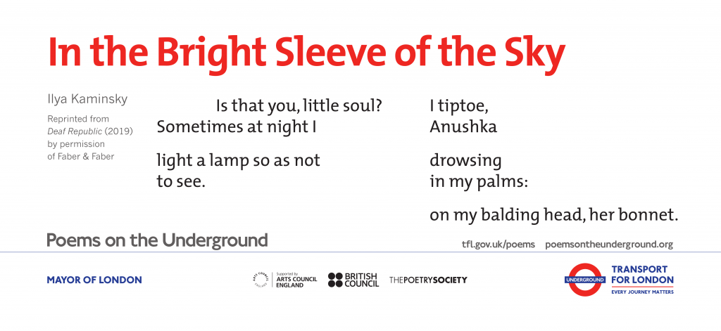 In the Bright Sleeve of the Sky, Ilya Kaminsky 'Is that you, little soul? Sometimes at night I light a lamp so as not to see. I tiptoe, Anushka drowsing in my palms: on my balding head, her bonnet.'