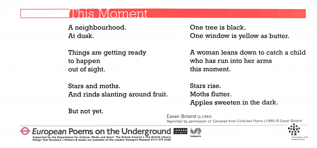 This Moment, Eavan Boland 'A neighbourhood. At dusk. Things are getting ready to happen out of sight. Stars and moths. And rinds slanting around fruit. But not yet. One tree is black. One window is yellow as butter. A woman leans down to catch a child who has run into her arms this moment. Stars rise. Moths flutter. Apples sweeten in the dark.''